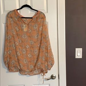 Lucky Brand Orange Blouse with Banded Tie Bottom